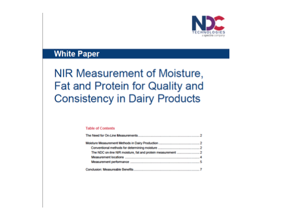 NIR Measurement of Moisture, Fat and Protein for Quality and Consistency in Dairy Products